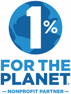The 1% for the Planet logo, a 1% figure superimposed over an image of the earth, a stylized version with water and land in two tones of blue.