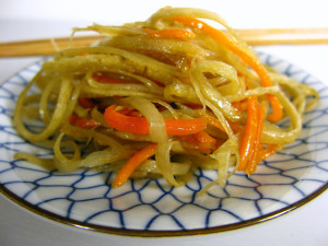 Kinpira gobo is a traditional burdock and carrot stir-fry.