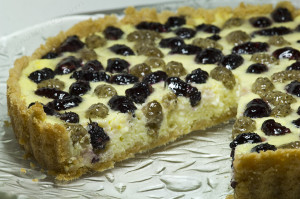 A Black and White Mulberry Ricotta Tart