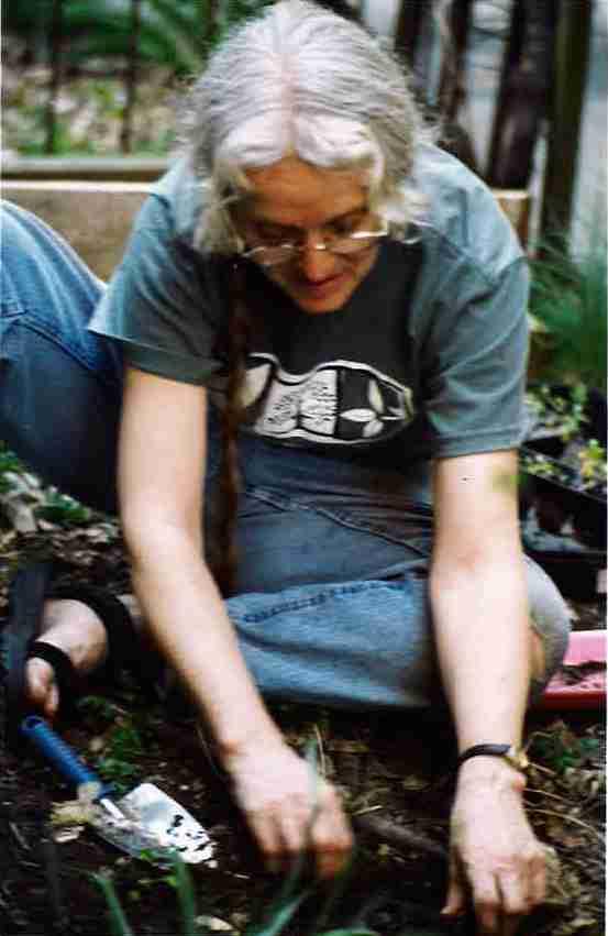 POP plant donor Pamela Haines in her community garden.