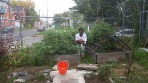 Tool Library member Danyell Brent kneels beside his veggie beds that he built with tools from the library.