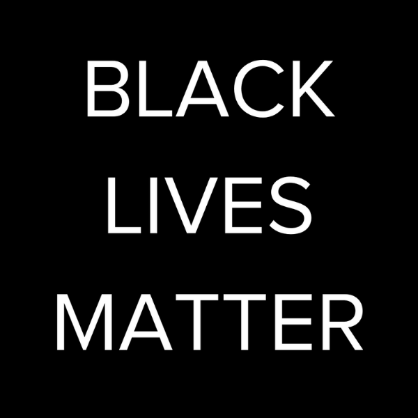 "White text over a black background reading ""Black Lives Matter"""