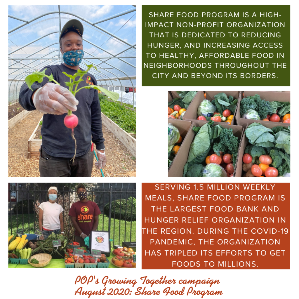 Photo collage from Share Food Program describing their mission and work, originally featured in August 2020