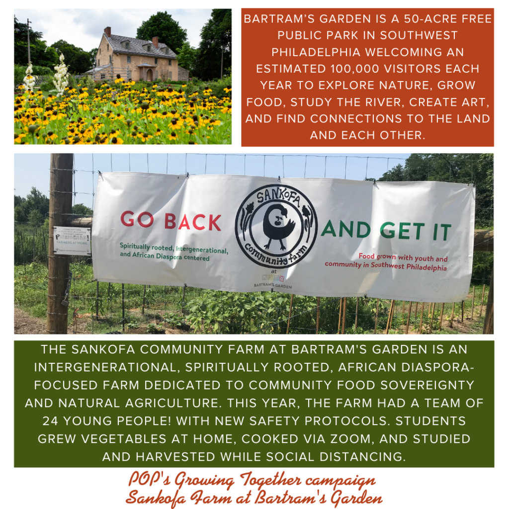 Photo collage from Bartram's Garden describing their mission and work, originally featured in September 2020