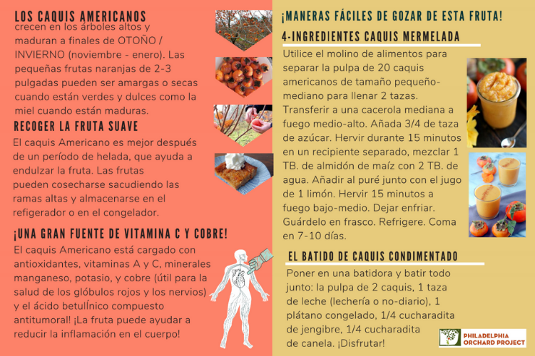 Un ejemplo de la receta y la información nutricional que se encuentra en la guía. (An example of the recipe and nutritional information found in the guide)