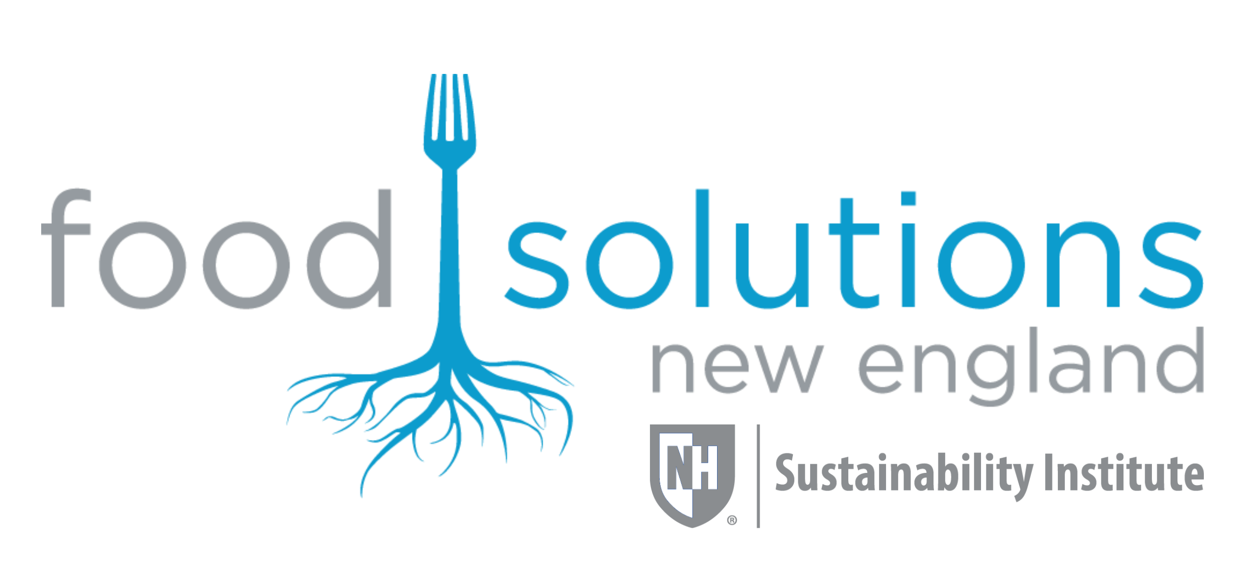The logo for Food Solutions New England. It consists of gray and light blue lettering and the image of a fork that's base turns into the roots of a tree.