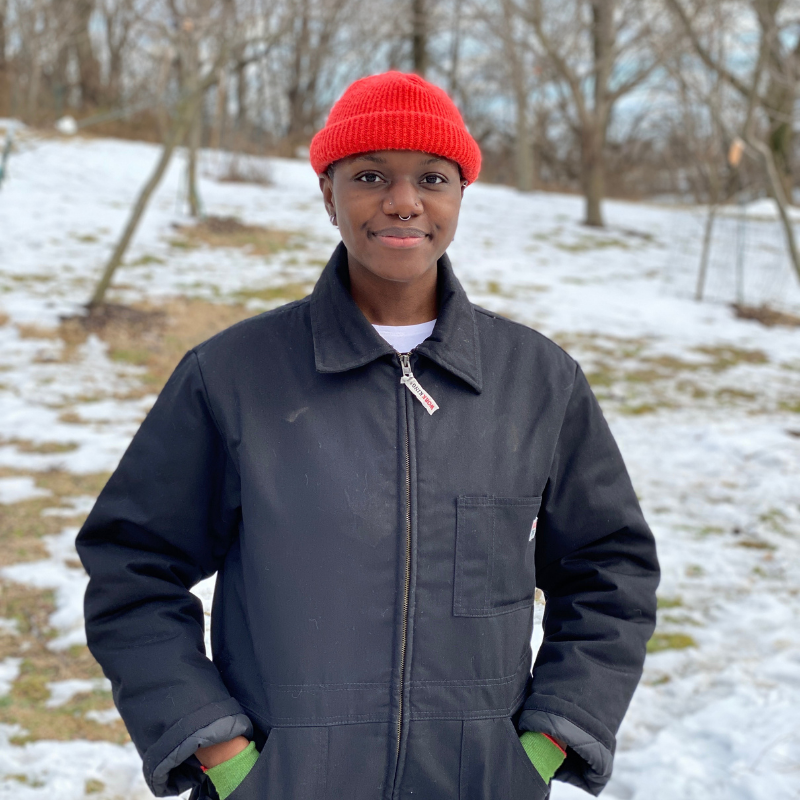 A Black person in coveralls and a bright orange hat stands in a snowy meadow