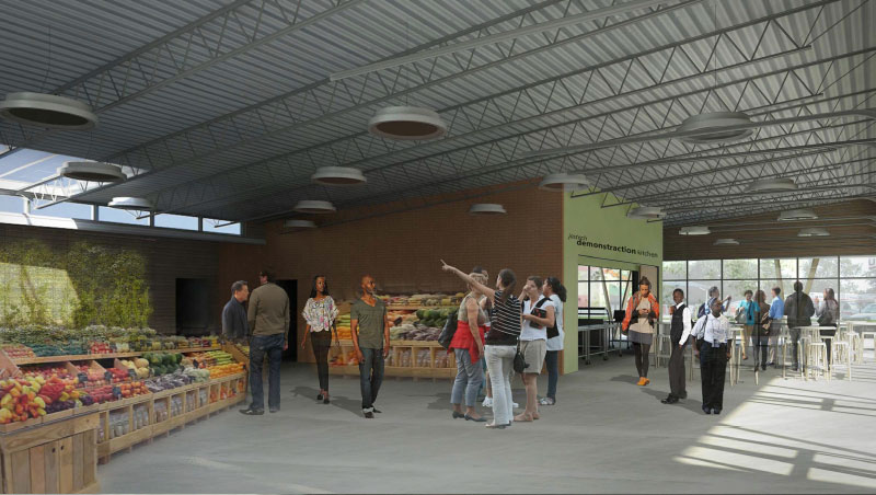 A conceptual viewing of the interior of the Overbrook Farmacy (courtesy OEEC). The large open and airy space contains a demonstration kitchen and displays overflowing with fresh produce.